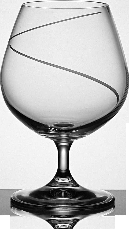 Broušená sklenice na brandy s dekorací vlnky