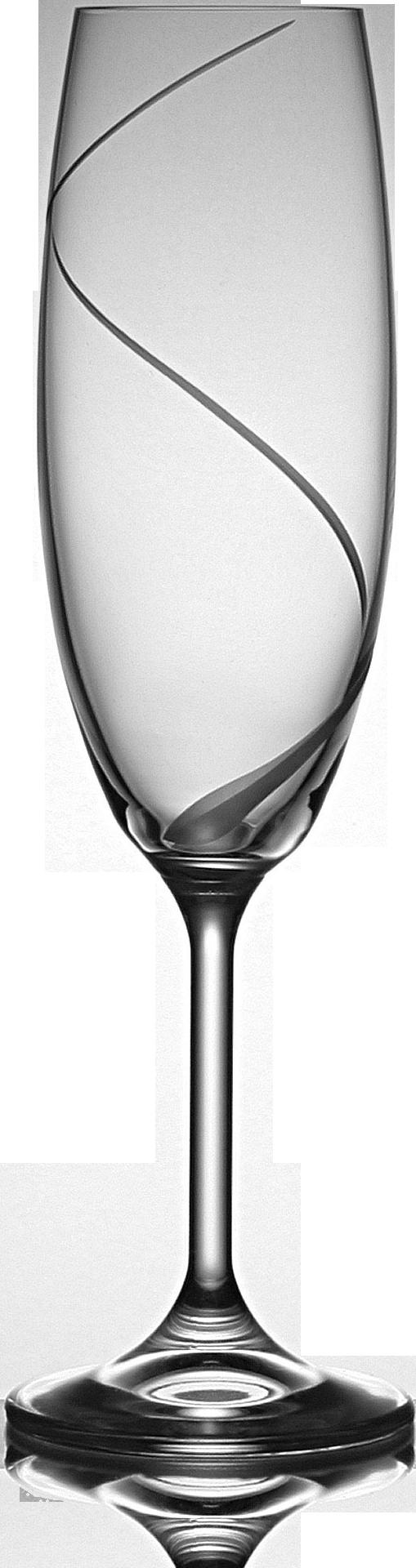 Broušená sklenice na sekt s dekorací vlnky