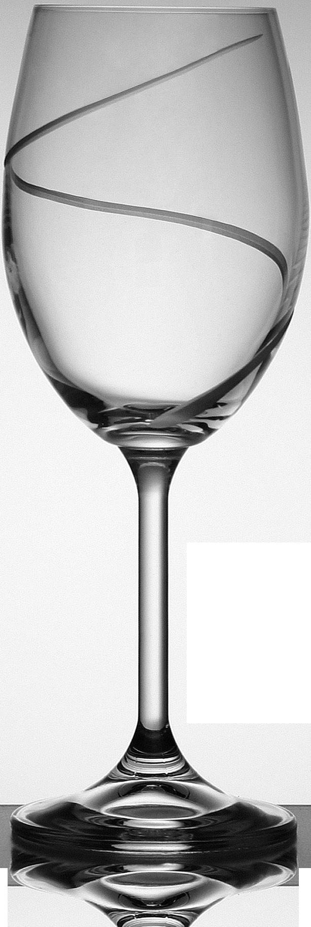 Broušená sklenice na bílé víno s dekorací vlnky