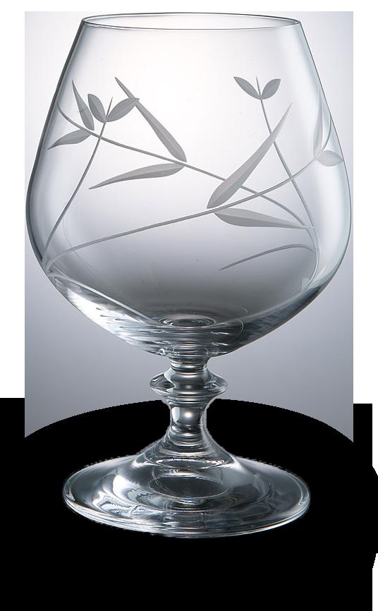 Broušená sklenice na koňak s dekorací