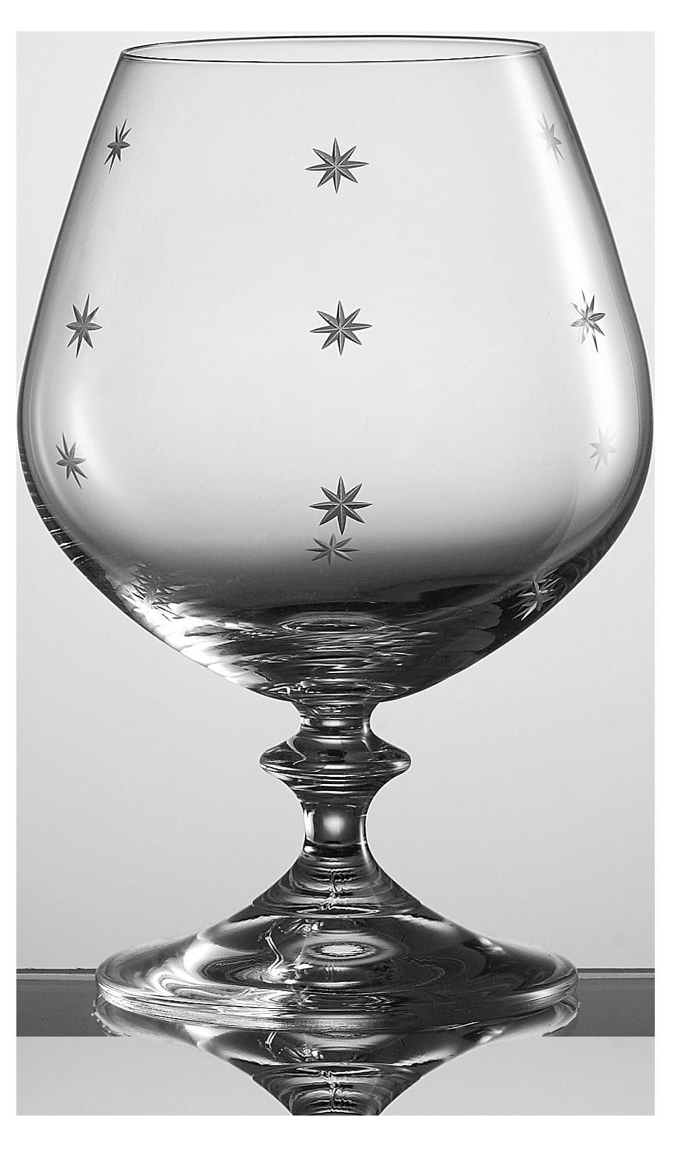 Elegantní broušená sklenice na brandy s dekorací