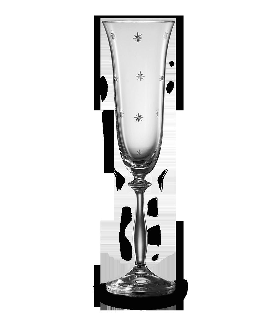 Broušená sklenice na sekt s motivem hvězd