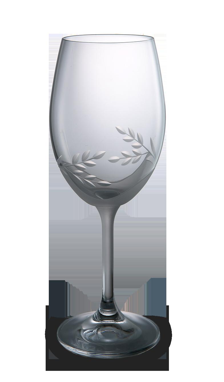 Broušená sklenice na bílé víno s dekorací
