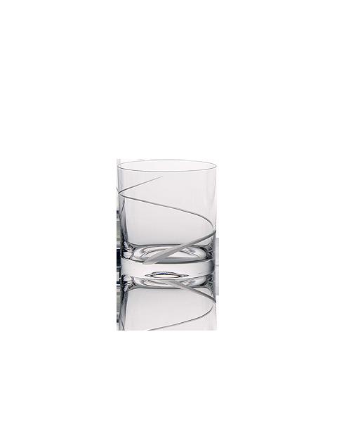 Malá broušená sklenice na vodu s dekorací vlnky