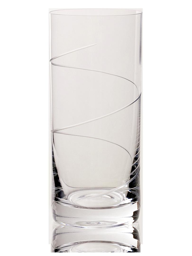 Velká broušená sklenice na vodu s dekorací vlnky