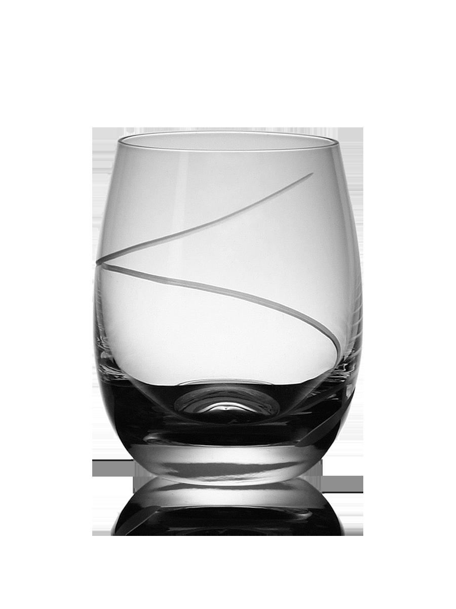 Střední broušená sklenice na whisky s dekorací