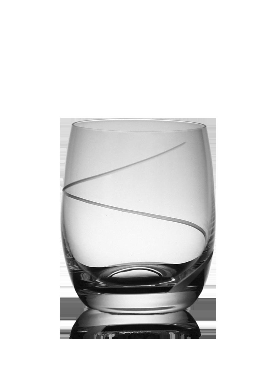 Malá broušená sklenice na vodu s dekorací
