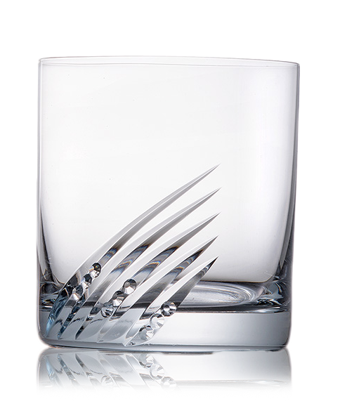 Broušené sklenice na whisky se skleněnými kamínky