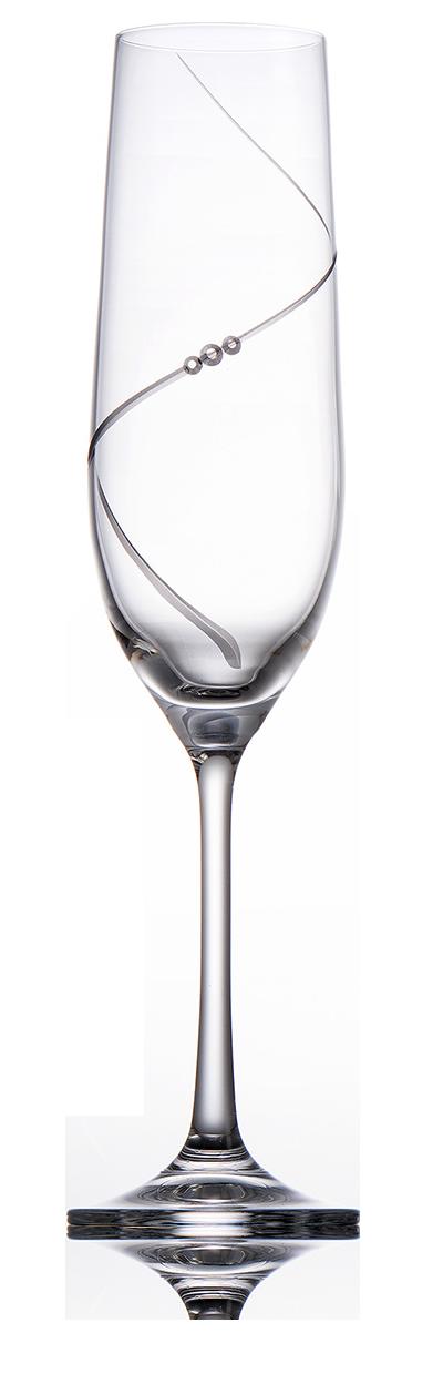 Broušené sklenice na šampaňské se skleněnými kamínky